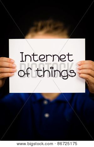 Child Holding Internet Of Things Sign