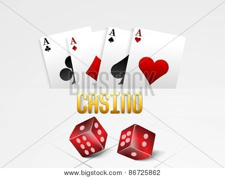 Shiny ace playing cards with red dices for Casino on grey background.