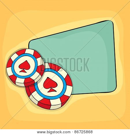 3D Casino chips with blank frame for your message on yellow background.