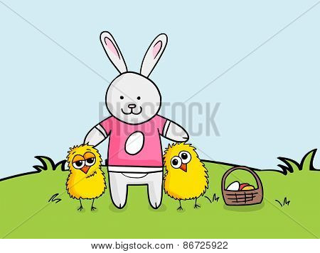 Happy Easter celebration with illustration of cute bunny, chicks and colorful eggs basket on nature background.
