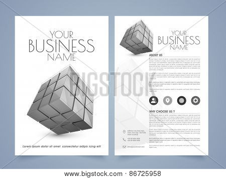 Corporate brochure or flyer presentation with 3D blocks and proper place holders for professional contents.