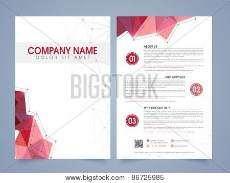 Front and back page presentation of a professional flyer, template or brochure for corporate sector.