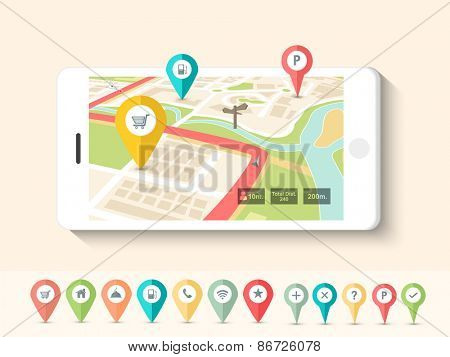 Colorful paper folded navigation pins pointing to the city map on smartphone screen.