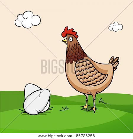 Happy Easter celebration with cute cock and eggs on nature background.