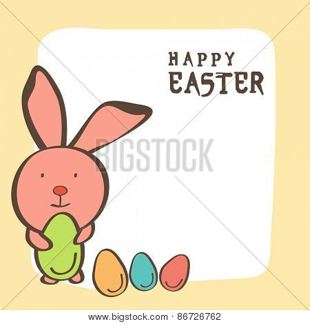 Happy Easter celebration greeting card design with cute bunny holding green egg.