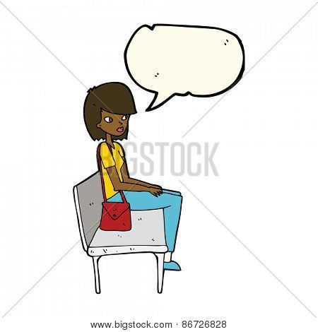 cartoon woman sitting on bench with speech bubble