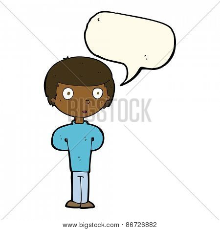 cartoon curious boy with speech bubble