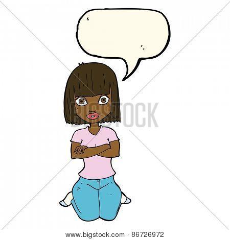 cartoon woman kneeling with speech bubble