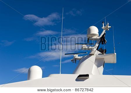 Communication Mast On Yacht.