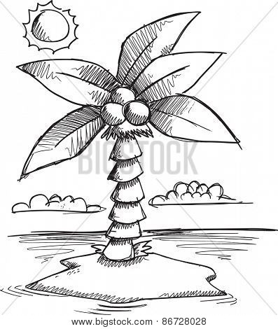 Doodle Sketch Tropical Island Vector illustration Art