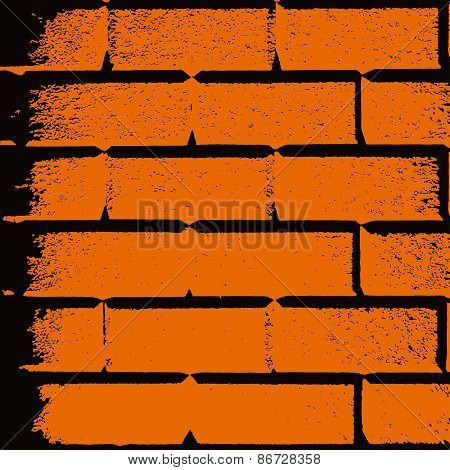 Vector Drawing Of An Orange Brick Wall Square Format Frame