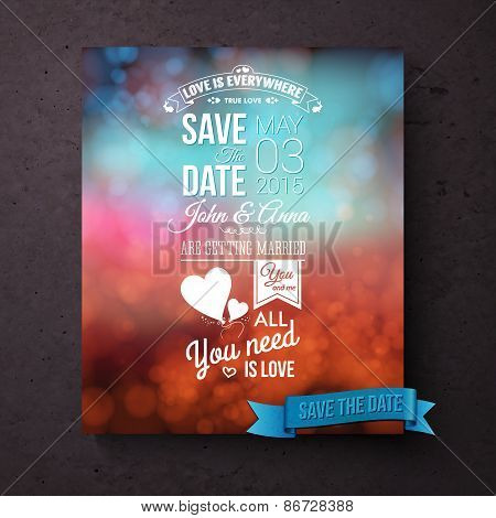 Save The Date template with messages of love