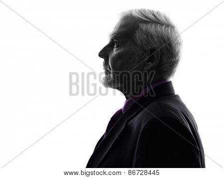 One Caucasian Senior Business Man Silhouette White Background