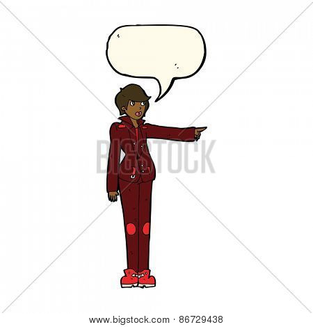 cartoon woman in leather jacket pointing with speech bubble