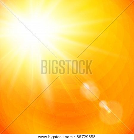 Vivid orange sunburst with sun flare
