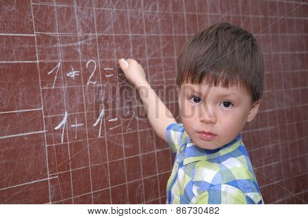 Schoolchild Near Blackboard