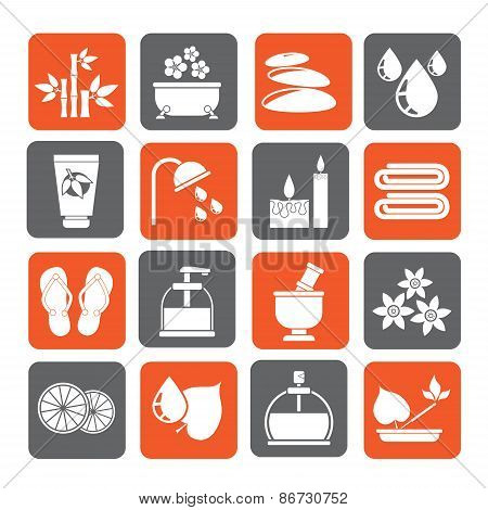 Silhouette Spa and relax objects icons
