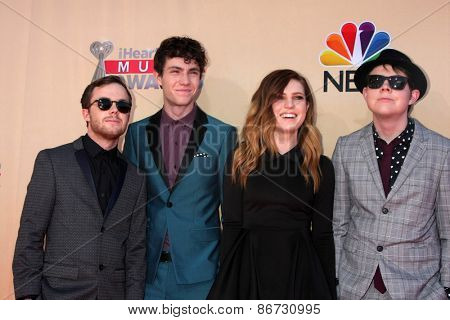LOS ANGELES - MAR 29:  Echosmith at the 2015 iHeartRadio Music Awards at the Shrine Auditorium on March 29, 2015 in Los Angeles, CA