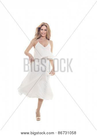 Young Woman in white evening gown