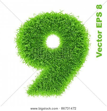Digit symbol 9 of grass alphabet, vector illustration EPS 8.