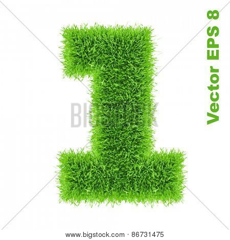 Digit symbol 1 of grass alphabet, vector illustration EPS 8.