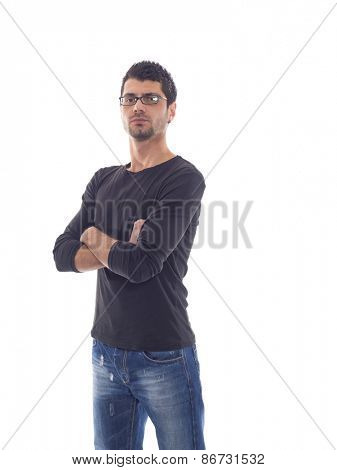 Casual man in Jeans posing over white background