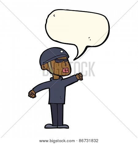 cartoon security guy with speech bubble
