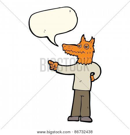 cartoon pointing fox man with speech bubble