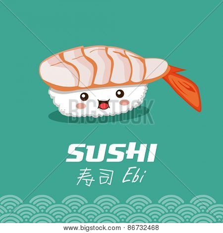 Vector sushi cartoon character illustration