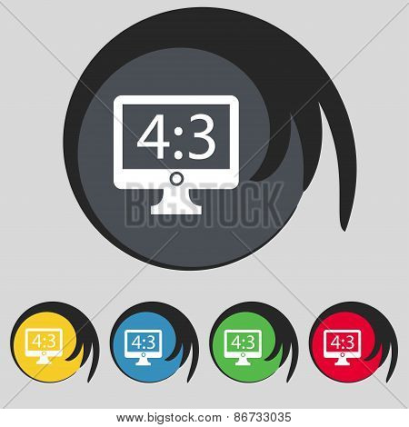 Aspect Ratio 4 3 Widescreen Tv Icon Sign. Symbol On Five Colored Buttons. Vector