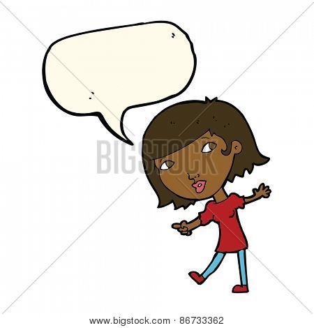 cartoon happy girl gesturing to follow with speech bubble