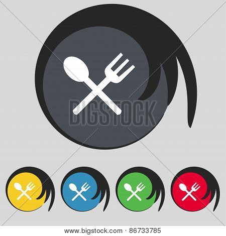 Fork And Spoon Crosswise, Cutlery, Eat Icon Sign. Symbol On Five Colored Buttons. Vector