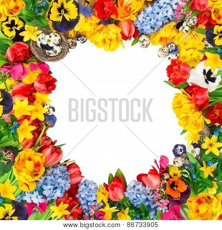 Easter Decoration With Eggs, Tulips, Narcissus, Hyacinth. Flower Frame