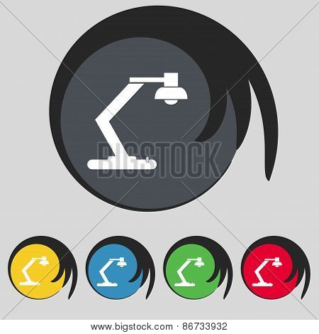Light, Bulb, Electricity Icon Sign. Symbol On Five Colored Buttons. Vector
