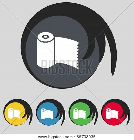 Toilet Paper, Wc Roll Icon Sign. Symbol On Five Colored Buttons. Vector