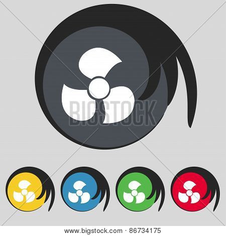 Fans, Propeller Icon Sign. Symbol On Five Colored Buttons. Vector