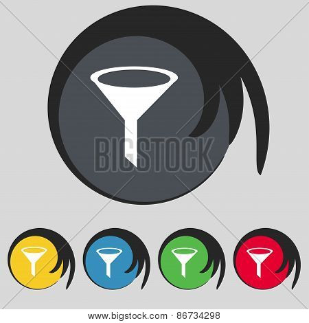 Funnel Icon Sign. Symbol On Five Colored Buttons. Vector