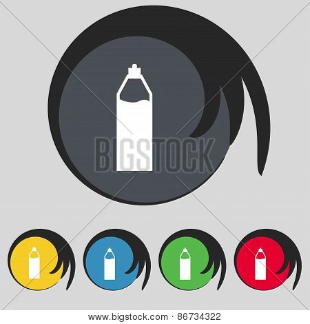 Plastic Bottle With Drink Icon Sign. Symbol On Five Colored Buttons. Vector