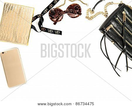 Fashion Mockup With Business Lady Accessories. Feminine Objects