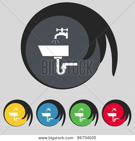 Washbasin Icon Sign. Symbol On Five Colored Buttons. Vector