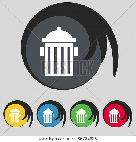 Fire Hydrant Icon Sign. Symbol On Five Colored Buttons. Vector