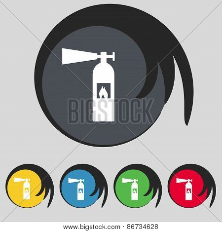 Fire Extinguisher Icon Sign. Symbol On Five Colored Buttons. Vector