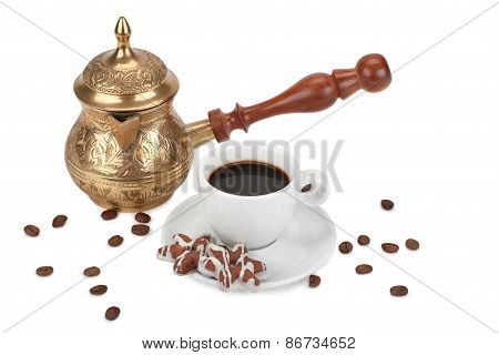 Cup With Coffee And Coffeepot