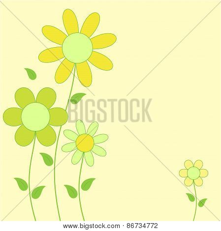 Yellow and Green Flowers on Yellow  Background, Flower Card