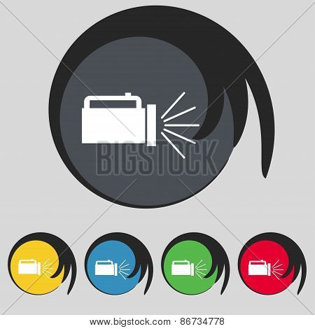 Flashlight Icon Sign. Symbol On Five Colored Buttons. Vector