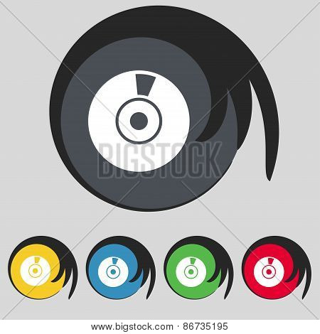 Cd Or Dvd Icon Sign. Symbol On Five Colored Buttons. Vector