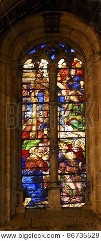Angels Nobles Stained Glass Salamanca New Cathedral Spain