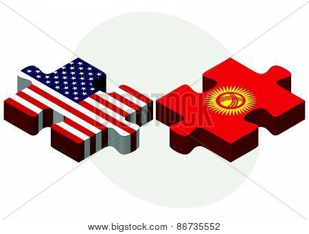 Usa And Kyrgyzstan Flags In Puzzle