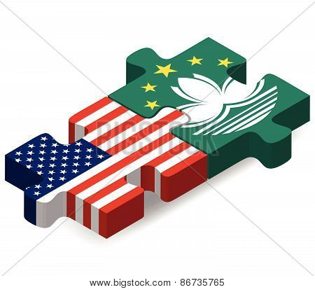 Usa And Macau Sar China Flags In Puzzle