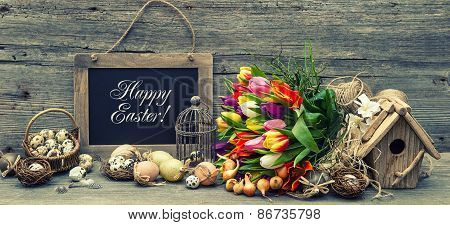 Easter Decoration With Eggs And Tulip Flowers. Retro Style Toned